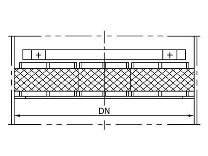A drawing of upload type demister pad.