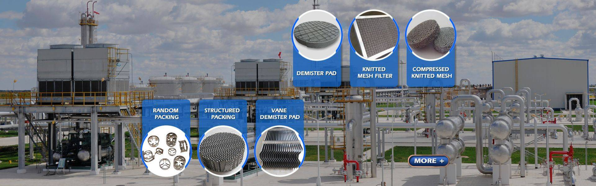 six different kinds of demister pad used in the chemical industries.